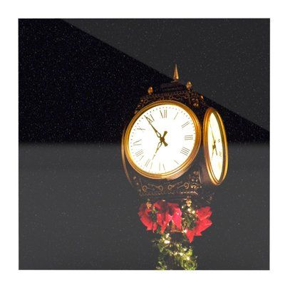 """East Urban Home 'Xmas Clock' Photographic Print on Metal Size: 10"""" H x 10"""" W x 1"""" D"""