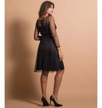 Midi Φόρεμα με Τούλι - Πουά Μαύρο  116737df21a