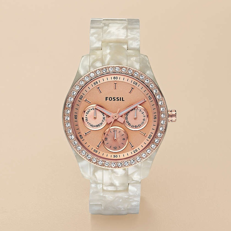Stella Resin Watch - Pearlized White with Rose