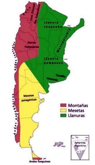 mapa de relieves de argentina