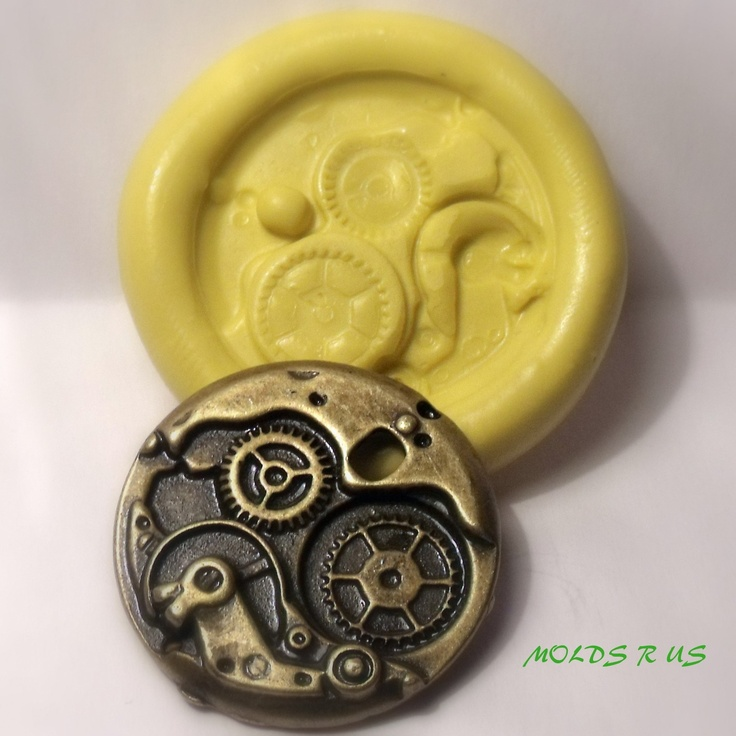 steampunk gears flexible silicone push mold / craft/ dessert/ mini food / soap mold/ resin/jewelry and more.... $5.95, via Etsy.