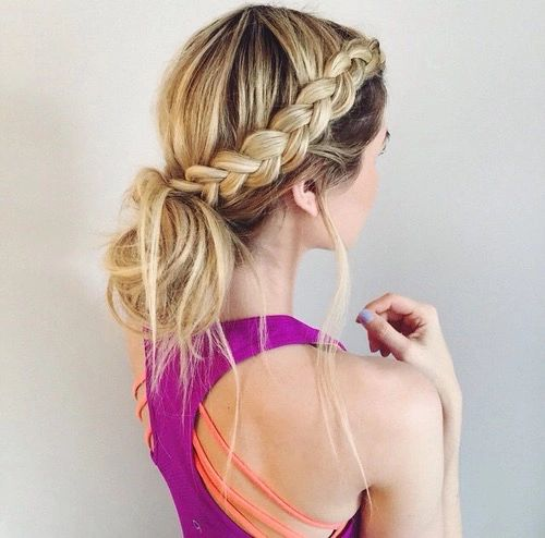This is an adorable hairstyle to go workout in because you have this cute braid and the loose messy bun. This is stylish cute and it's a lazy hairstyle