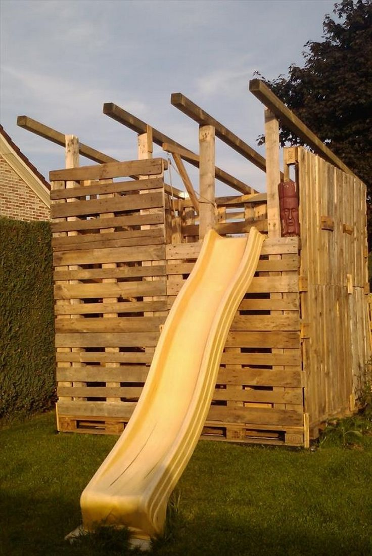 1001 pallets pallet kids playground here is a home made playground - Diy Pallet Kids Playhouse Projects