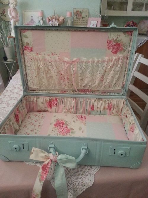 Revamp a vintage suitcase with paint, fabric, and decoupage.