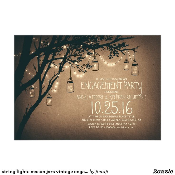 string lights mason jars vintage engagement party card