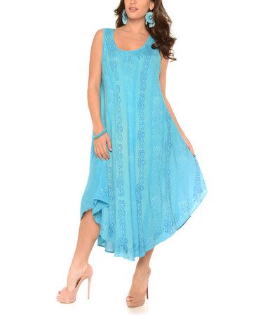 This Turquoise Sleeveless Dress - Plus is perfect! #zulilyfinds