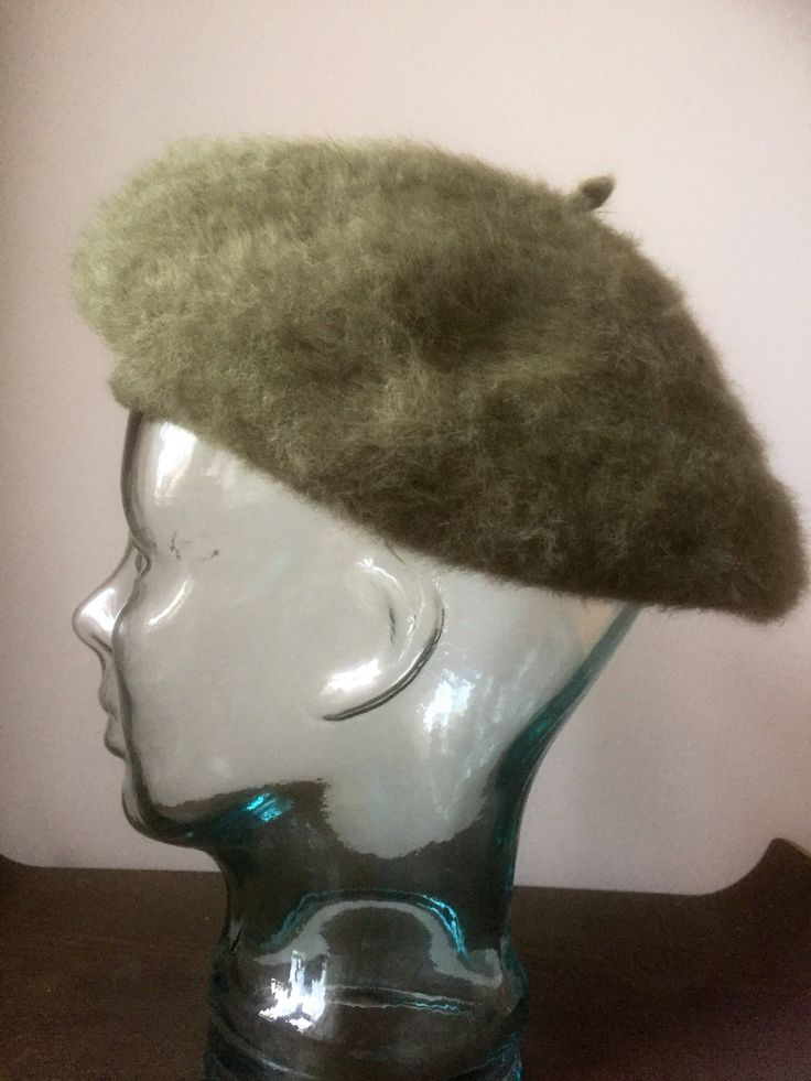 Kangol/beret/angora/wool/blend/army green by WifinpoofVintage on Etsy