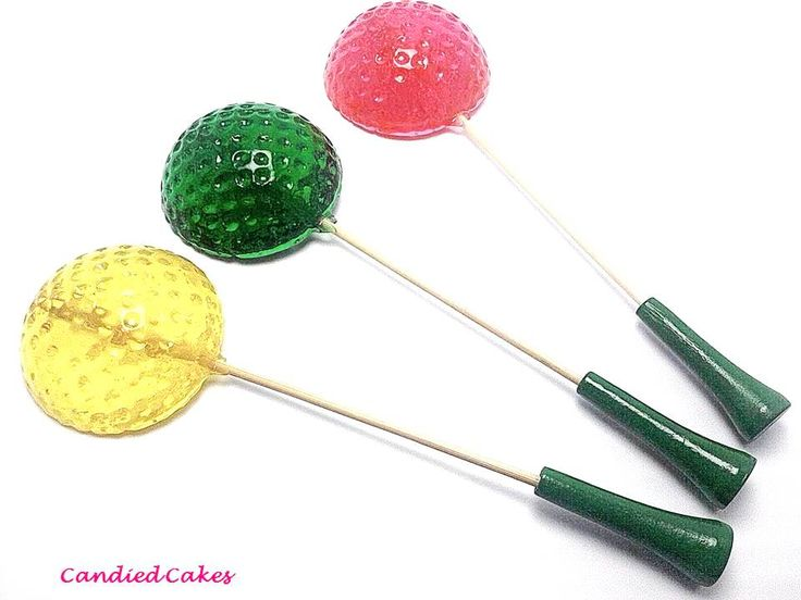 """10/$12.99 At Candied Cakes, we LOVE to send extras with every order! Lollipop Measurements: 1 1/2"""" inches Golf Tee Stick Size: 4 1/2 inches Wrappings: Individually wrapped and sealed in super clear cellophane Shelf Life: Up to 6 weeks when stored properly in a ..."""