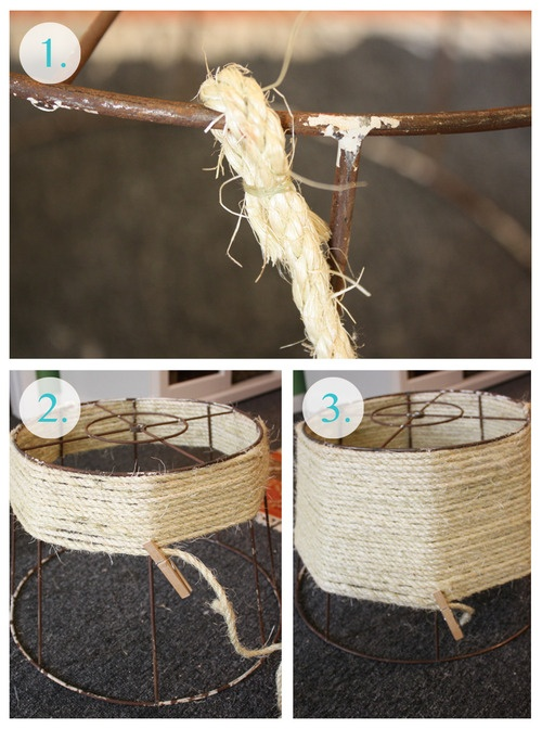 made it diy rope lamp shade make it pinterest rope lamp yarns and middle. Black Bedroom Furniture Sets. Home Design Ideas