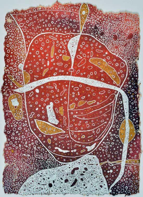 Grafik - Harry Mohr BLINDE INTUITION 1994 / Gouache und Faserstifte auf Schredderpapier 31 x 22 cm