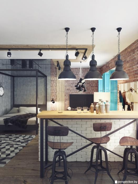 Интерьер студии, кухня-гостиная, дизайн-проект квартиры ЖК Рупасовский