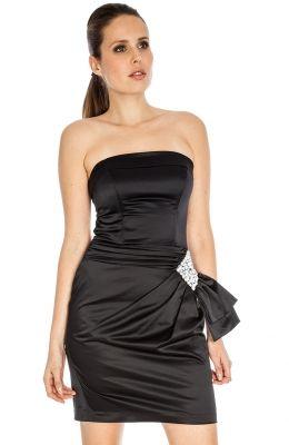 Elegantné krátke čierne šaty vhodné na spoločenské udalosti Side Detail Satin