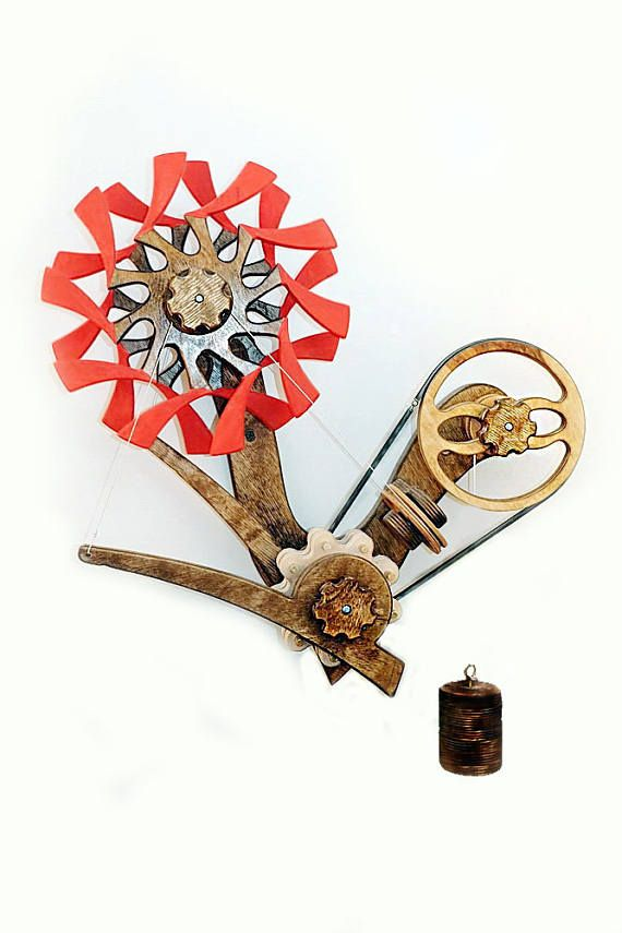 Kinetic plywood ART  Wooden Kinetic Sculpture   BLOSSOM