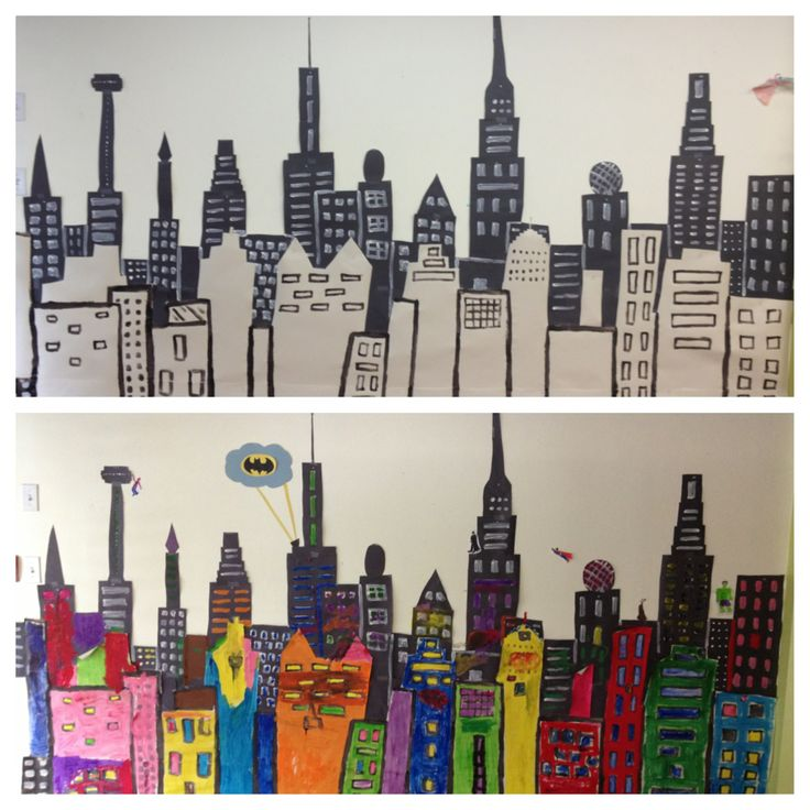 Before and after cityscape mural in my classroom for Cityscape mural