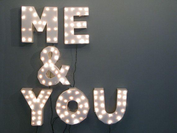 "Handmade ""Me & You"" Marquee Wall Light."