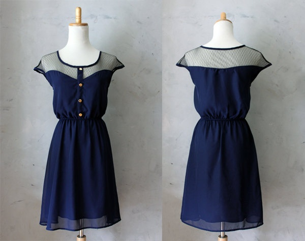 Petit Dejeuner in Navy Blue - Black Lace Illusion Neckline Vintage Inspired Chiffon Dress with Gold Buttons