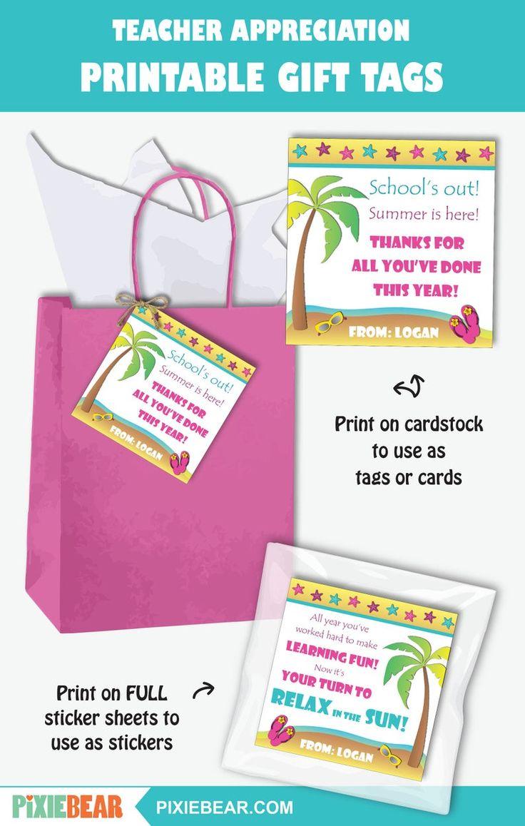 Beach teacher appreciation tag printable teacher