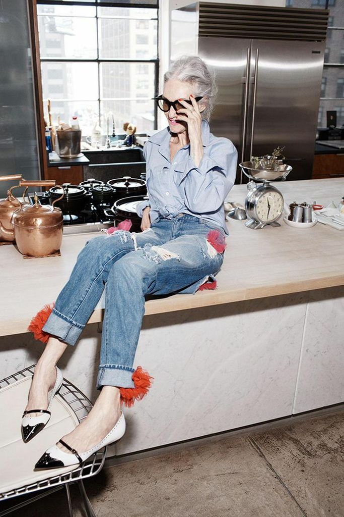 Ripped jeans, classic denim shirt and exquisite flats. I'll be wearing this stylish attire when I'm in my 60s and picking up my grand kids from school.