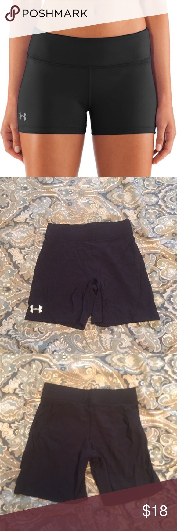 Under Armour spandex shorts Super comfy black spandex shorts for any activity whether it's running, yoga, playing volleyball, or just working out in general! Very stretchy and barely worn. Size XS. Under Armour Shorts