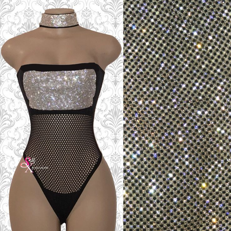 2e9bea126db0 Black Rhinestone Sleeveless Tube top Bodysuit Sexy Clubwear lingerie romper  Fetish fishnet Sparkly Outfit Rave BDSM Pole dancewear exotic
