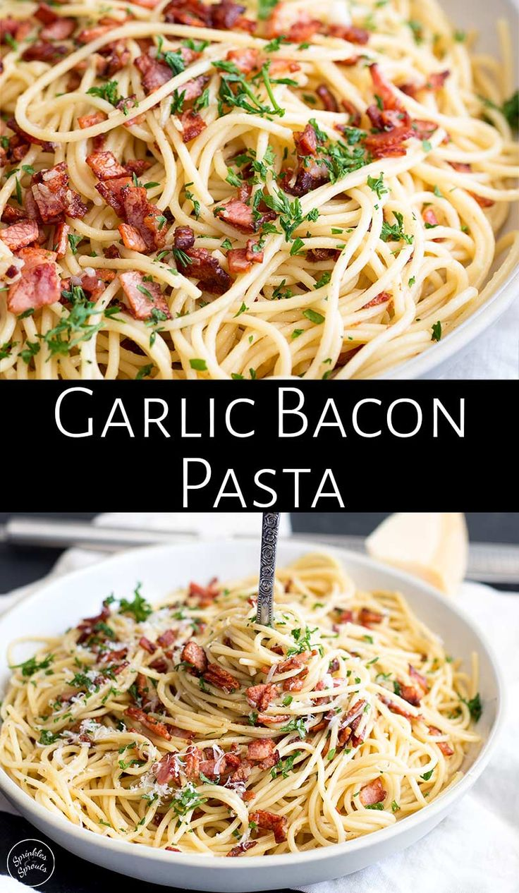 This Easy Garlic Bacon Pasta Recipe is going to be your go-to weeknight meal when you need a quick dinner on the table in just 10 minutes. With just 5 ingredients - pasta, olive oil, garlic, bacon, and salt, you can have a delicious dinner! (Parmesan and parsley are optional but so good!) You can use spaghetti, linguine, or even angel hair pasta for this recipe. But make sure to keep the bacon fats as that is where the magic happens.