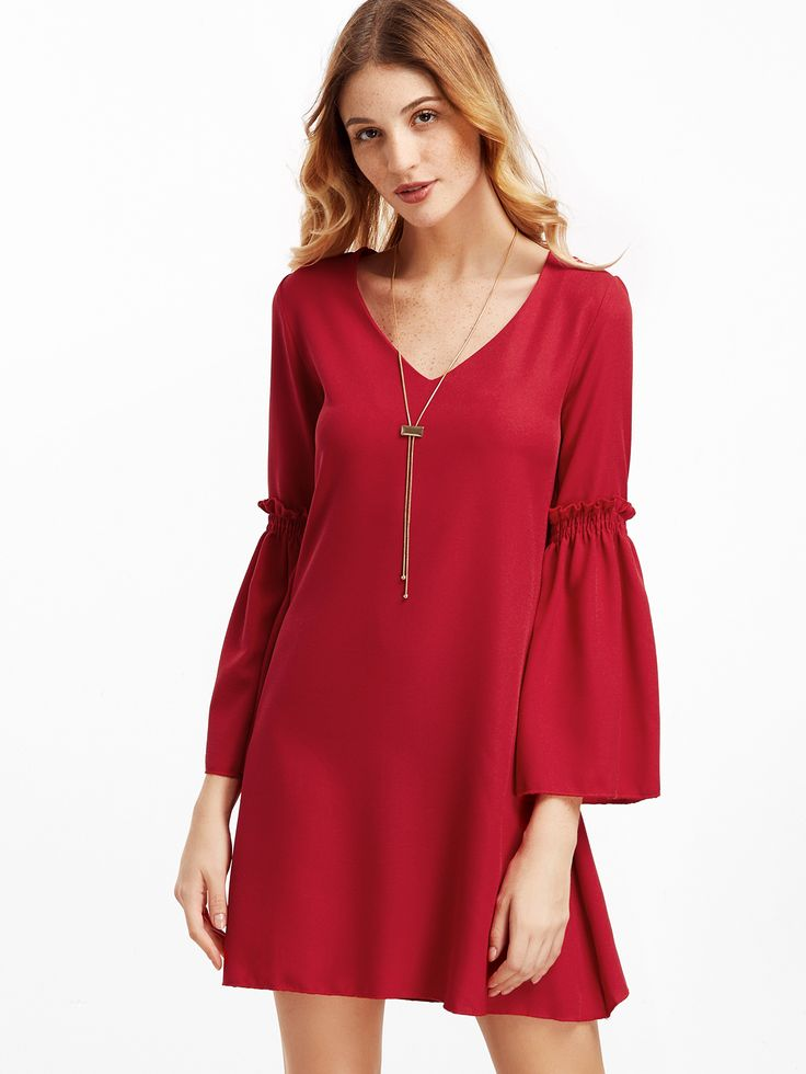 Robe chemise col V manche cloche - rouge -French SheIn(Sheinside)