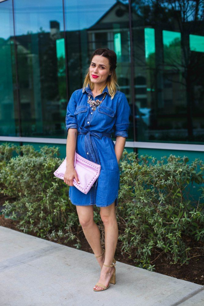 Why You Need a Denim Dress | How to wear a denim dress | Denim Shirt Dress Look | Uptown with Elly Brown