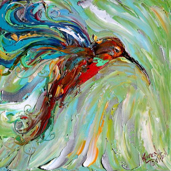 Original oil painting Hummingbird palette knife by Karensfineart  One of my favorite birds to paint!