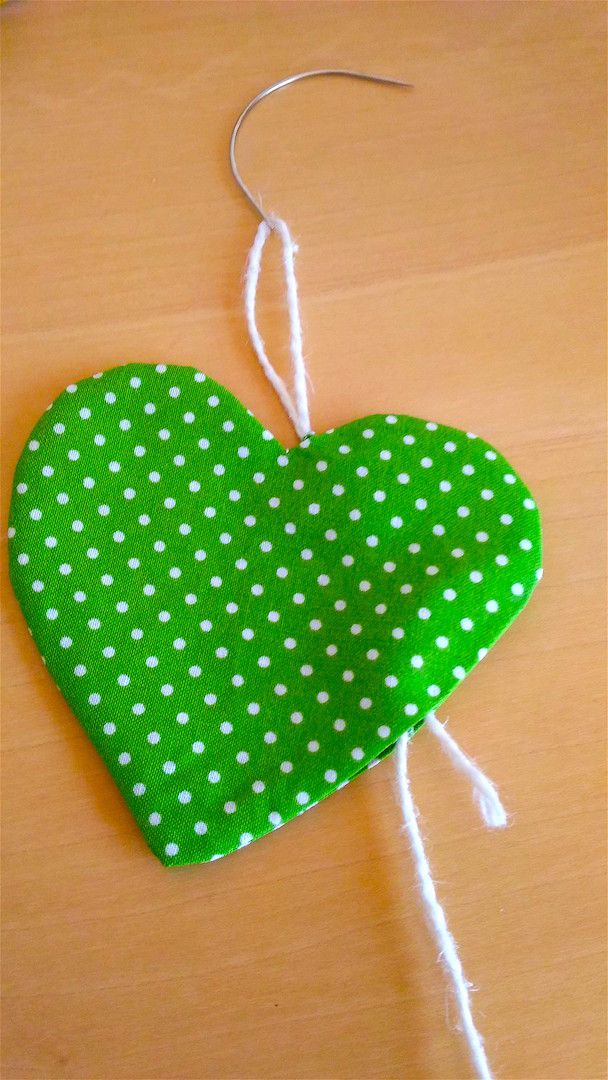 Tutorial portachiavi fai da te Panini Tessuti: cuore verde a pois