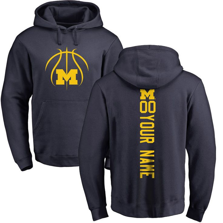 Michigan Wolverines Basketball Personalized Backer Pullover Hoodie - Navy