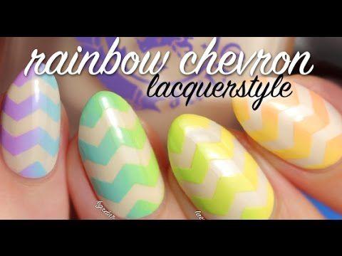 Rainbow Gradient Chevron Nails Tutorial | Lacquerstyle - YouTube