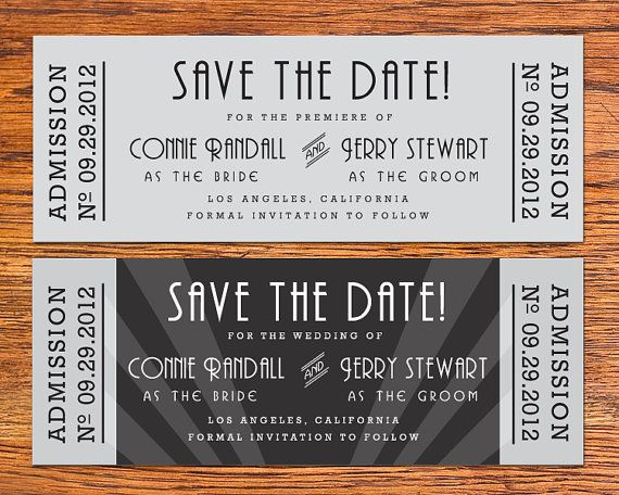 DIY Old Hollywood Movie Ticket Save the Date Card by NoblestHart, $15.00
