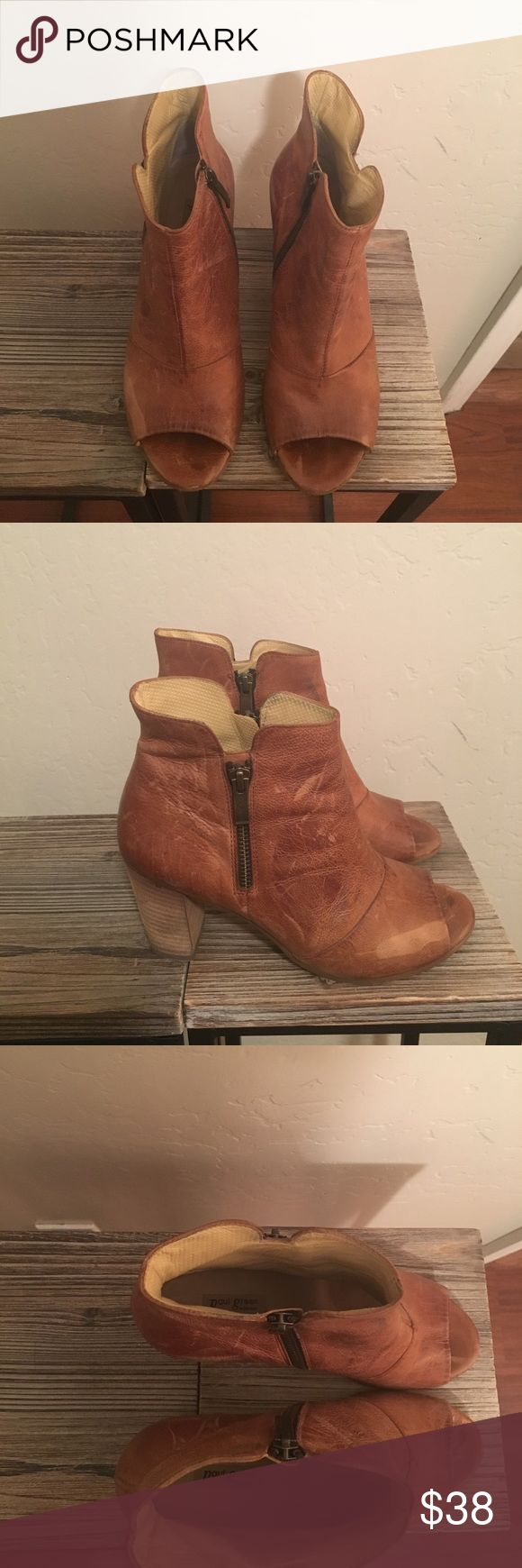 Paul green distressed peep toe booties Distressed genuine leather Paul Green booties Paul Green Shoes Ankle Boots & Booties