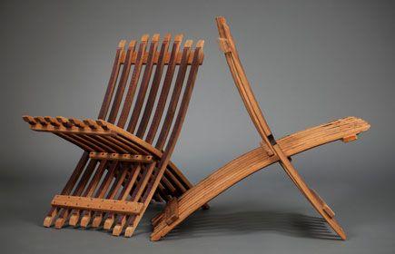 Silver Oak Wine Barrel Folding Chair