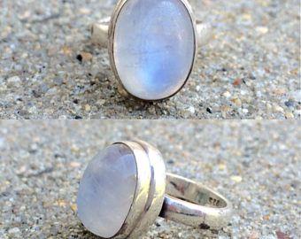 Anillo de piedra de luna arco iris tamaño 9 anillo de piedra