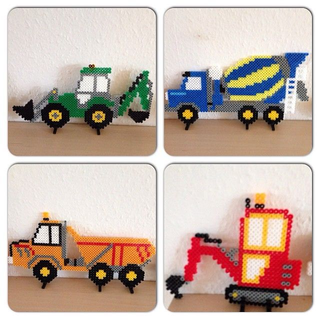 Hama perler bead vehicles by karinavandborg