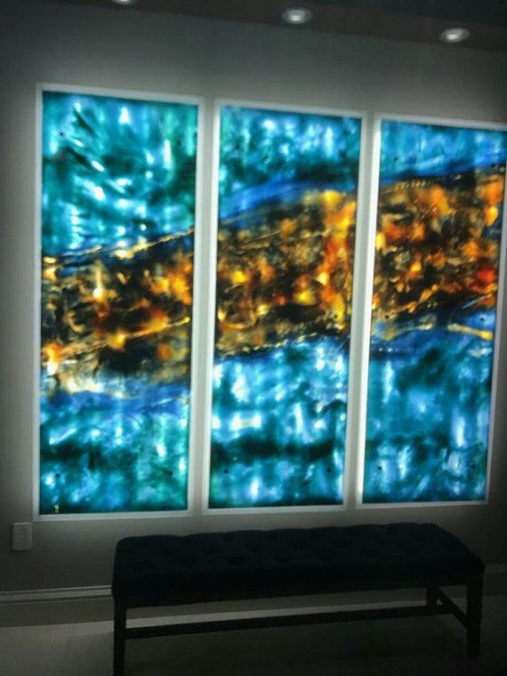Unique Stained Glass Panel Hand Painted By An Order With Led Etsy Glass Painting Glass Art Installation Glass Wall Art