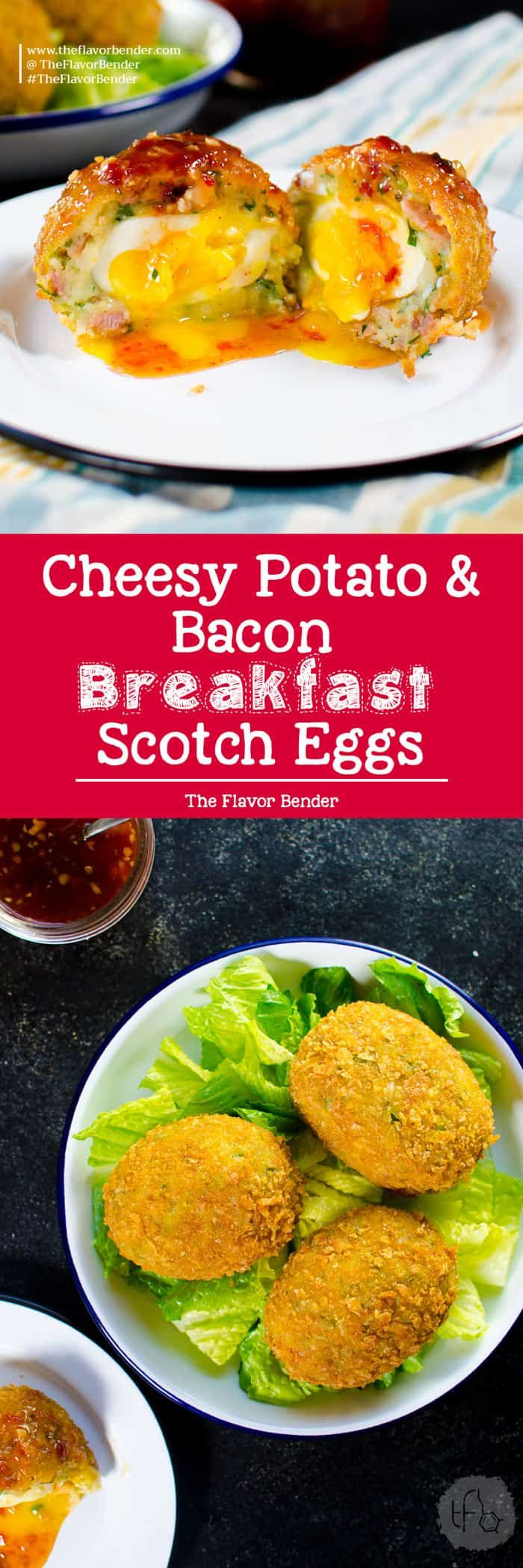 Cheesy Potato & Bacon Scotch Eggs. Extra special Breakfast Scotch eggs with Cheese, Potato, Bacon! Perfect Brunch or Breakfast Eggs. via @theflavorbender