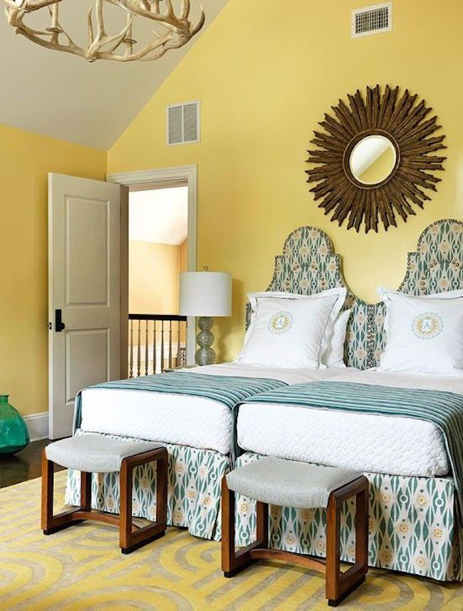 Two twin beds pushed together in yellow room     #bedroom #bedroomideas http://www.cleanerscambridge.com/
