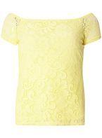 Womens Yellow Lace Bardot Top- Yellow