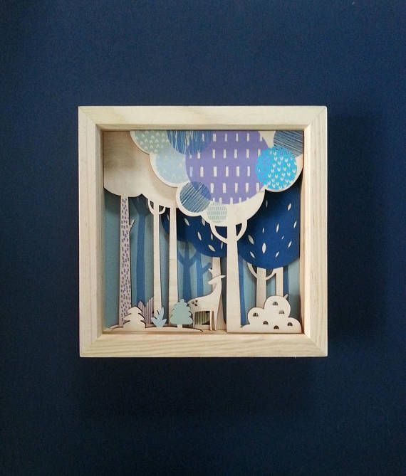 Deer in the Forest framed diorama picture by SadPandaPrinting on Etsy #deer #diorama #blue #woodenpicture #folklore #fairytales