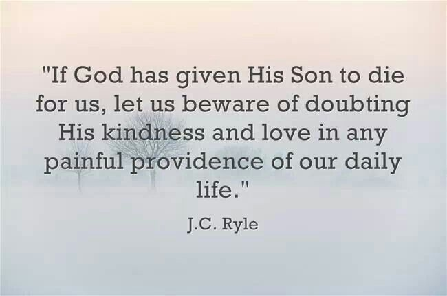 If God has given His Son to die for us, let us beware of doubting His kindness and love in any painful providence of our daily life. -- J.C. Ryle