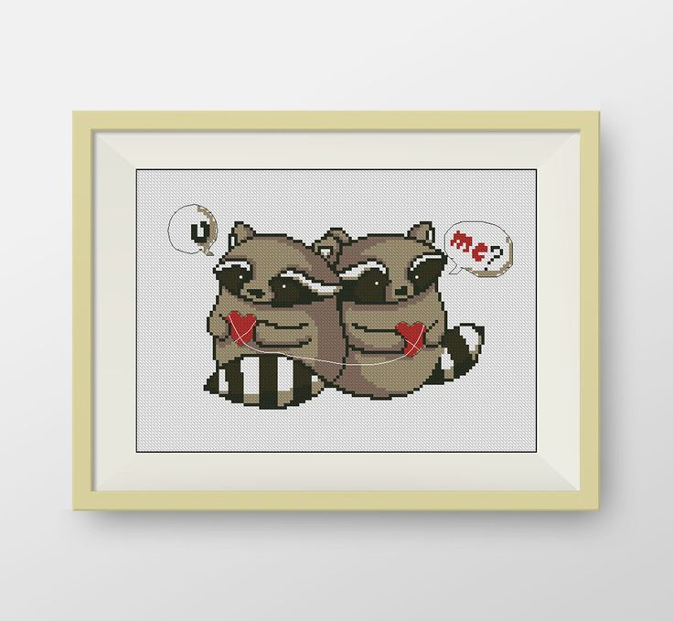 Raccoons in love PDF counted cross stitch by NataliNeedlework