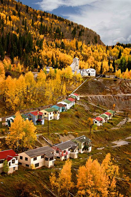 Gilman, Colorado, Abandoned mining town. Looks pretty but It was abandoned in 1984 by order of the Environmental Protection Agency because of toxic pollutants, including contamination of the ground water, as well as unprofitability of the mines.