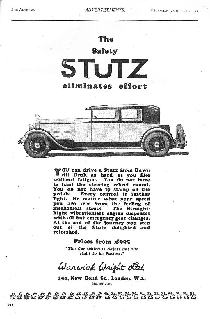 stutz warwick wright ltd autocar motor car advert 1927