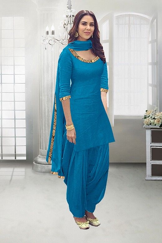 9d2b0cd40b Festival Wear Sky Blue Poly Cotton Patiyala Suit - 71324E. Want to know  about the best new style punjabi salwar ...