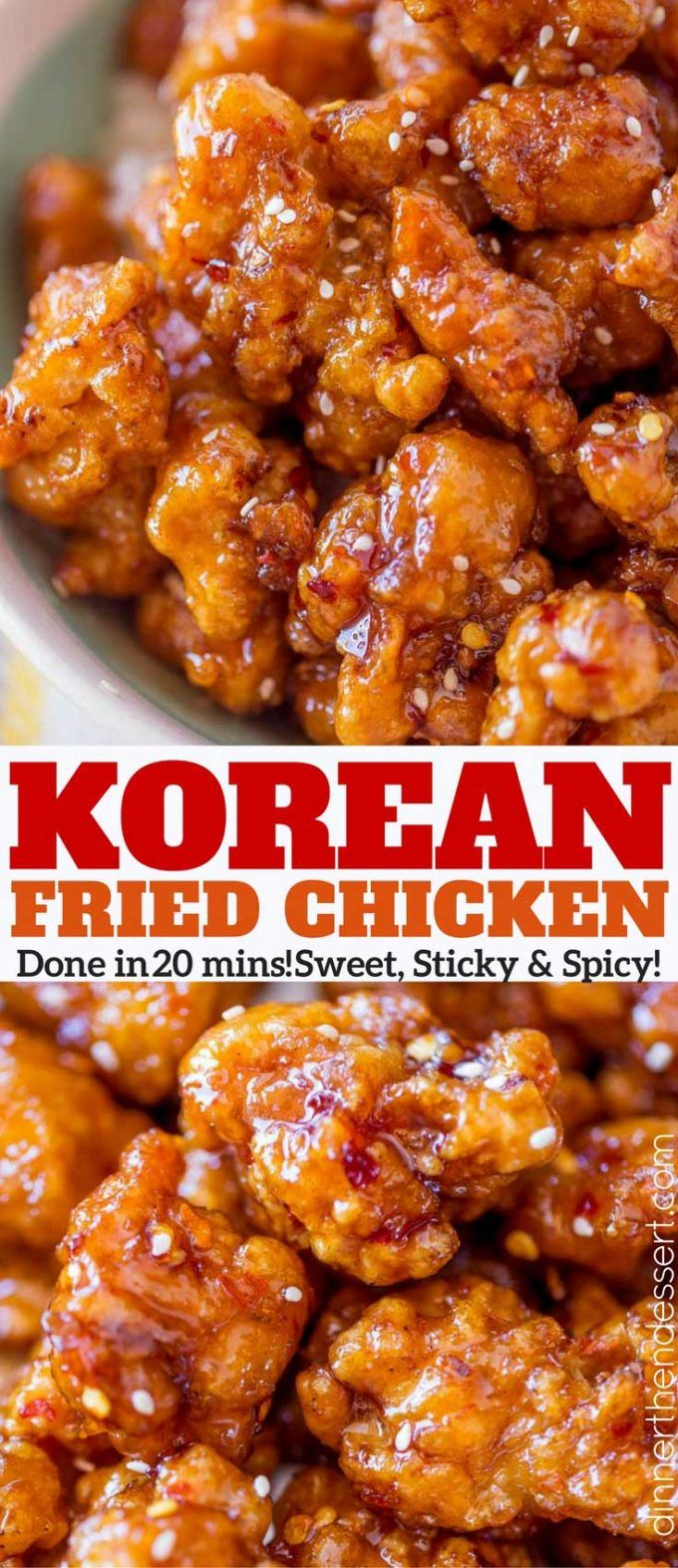 Crispy Korean Fried Chicken in a spicy, sweet glaze that is so crispy and sticky you'll coat everything in this sauce from wings to baked chicken breasts and more!
