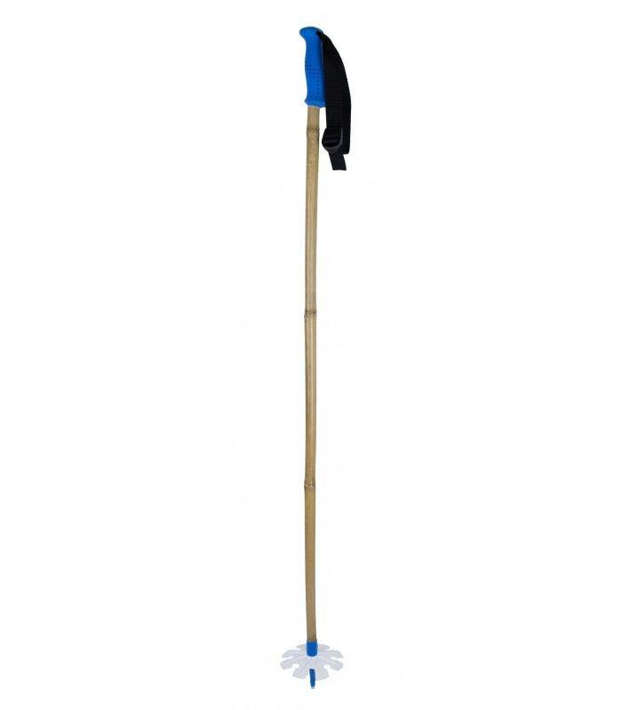 Deze stok is in de kleuren van de freeride ski community wepowder. Een blauwe grip met witte teller en een blauwe ferruler.