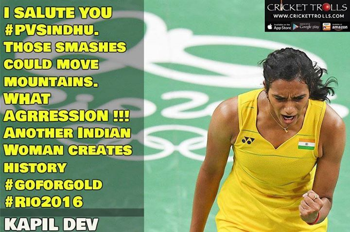 #PVSindhu #TeamIndia #Badminton #Rio2016 #RioOlympics Congratulations ! PV Sindhu Indian Badminton Sensation P V Sindhu storms into the Finals & keeps India's hopes alive to win a GOLD medal in  Rio Olympics 2016 - http://ift.tt/1ZZ3e4d