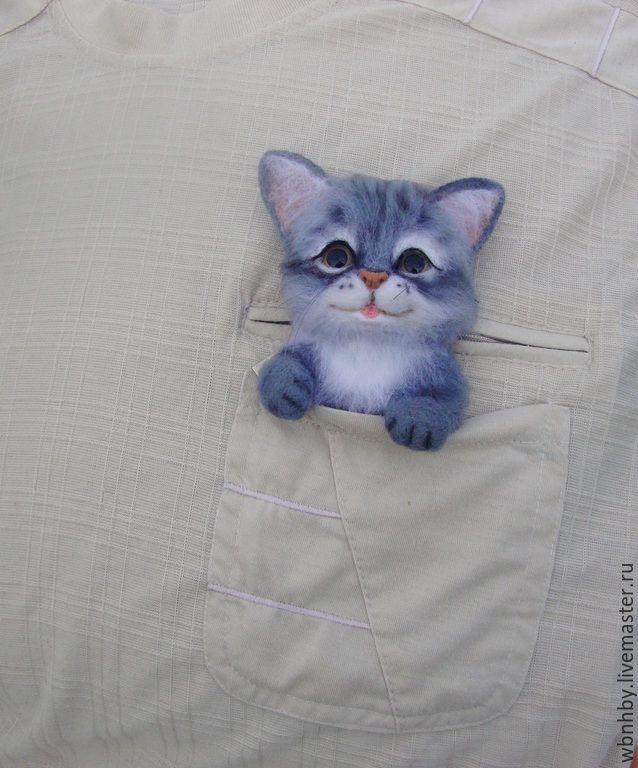 Купить котенок Шустрик - серый, войлок, войлочная брошь, украшения ручной работы, брошь